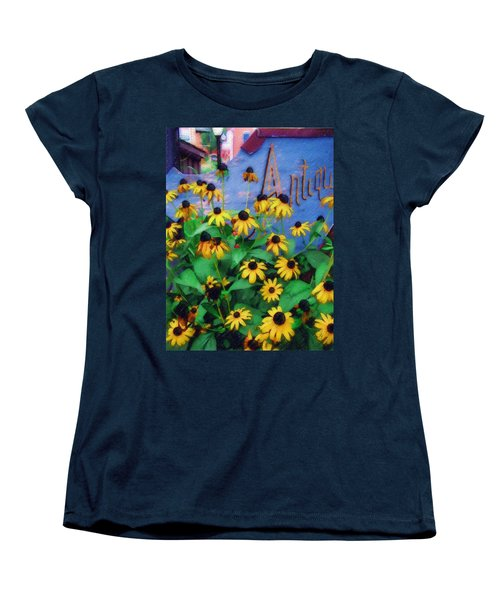 Women's T-Shirt (Standard Cut) featuring the photograph Black-eyed Susans At The Bag Factory by Sandy MacGowan