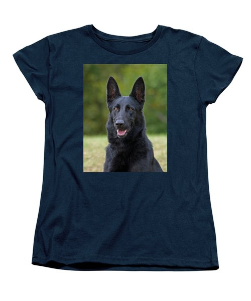Black German Shepherd Dog Women's T-Shirt (Standard Cut) by Sandy Keeton