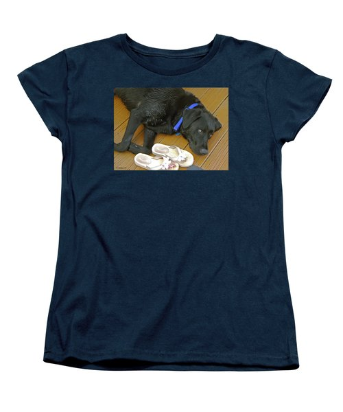 Black Lab Resting Women's T-Shirt (Standard Cut) by Brian Wallace