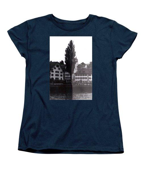 Black Lucerne Women's T-Shirt (Standard Cut) by Christian Eberli