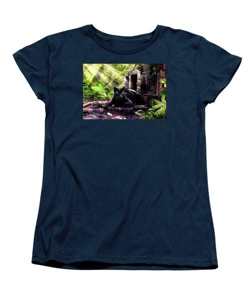 Black Panther Custodian Of Ancient Temple Ruins  Women's T-Shirt (Standard Cut) by Regina Femrite
