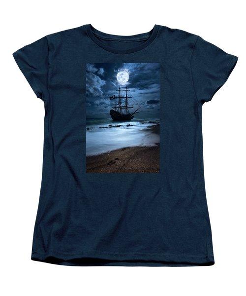 Black Pearl Pirate Ship Landing Under Full Moon Women's T-Shirt (Standard Cut) by Justin Kelefas