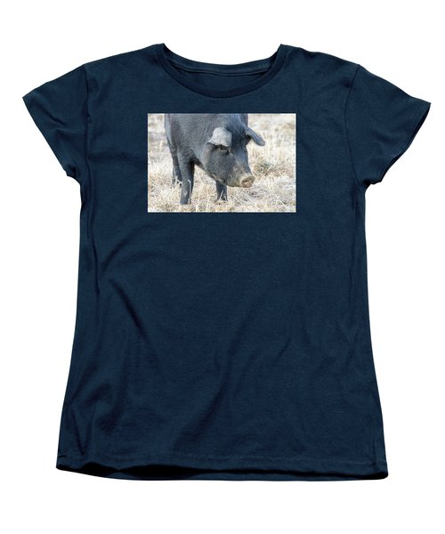 Women's T-Shirt (Standard Cut) featuring the photograph Black Pig Close-up by James BO Insogna