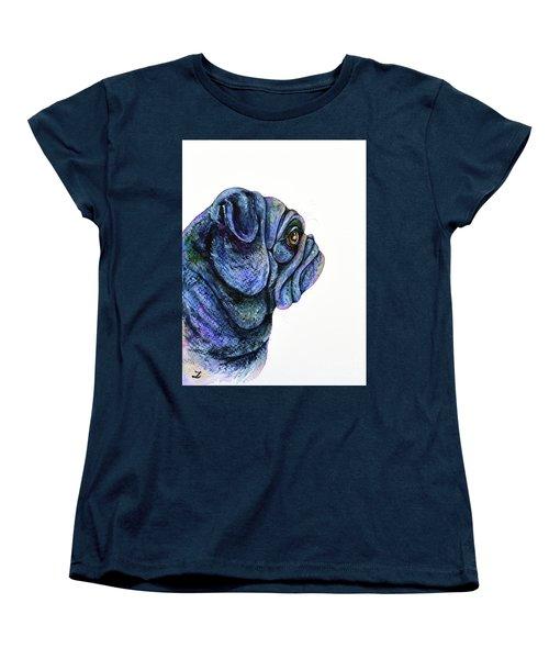 Women's T-Shirt (Standard Cut) featuring the painting Black Pug by Zaira Dzhaubaeva