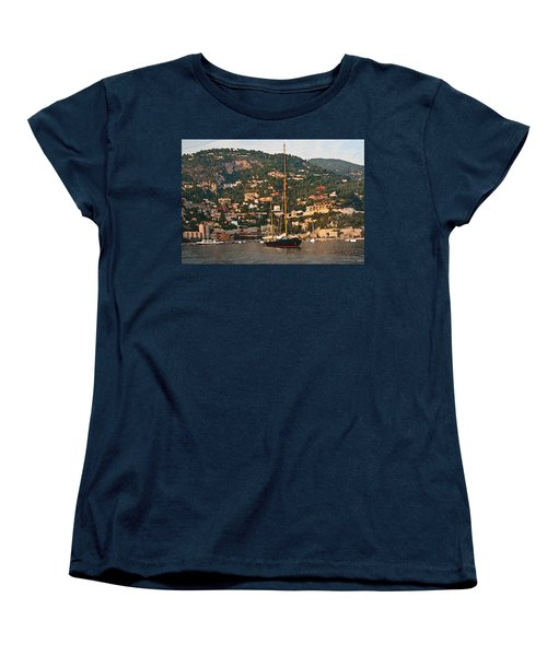 Black Sailboat At Villefranche II Women's T-Shirt (Standard Cut) by Steven Sparks
