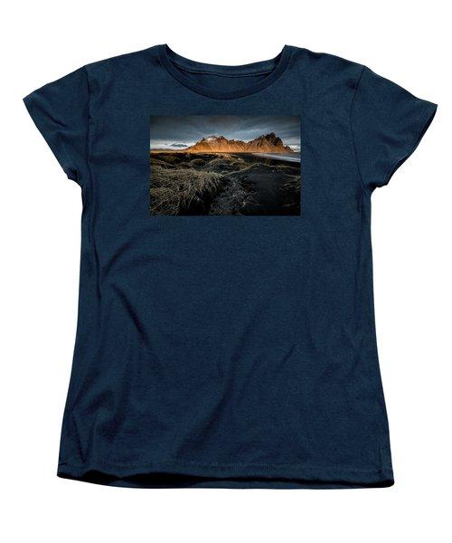 Blackbeach And Vestrahorn Women's T-Shirt (Standard Cut) by Allen Biedrzycki