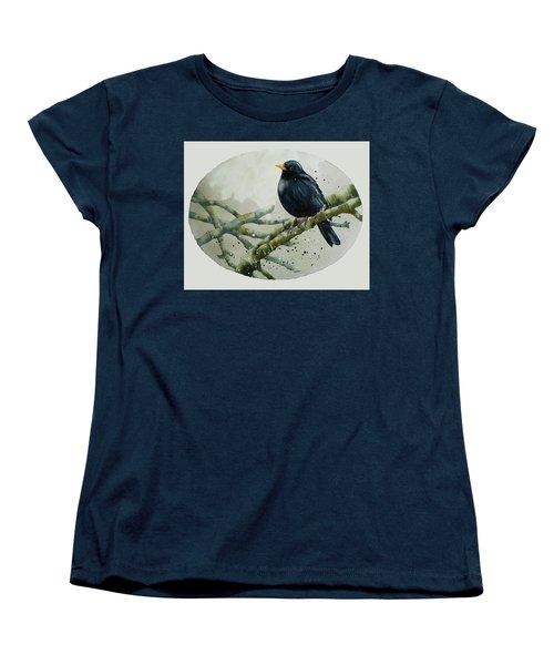 Blackbird Painting Women's T-Shirt (Standard Cut) by Alison Fennell