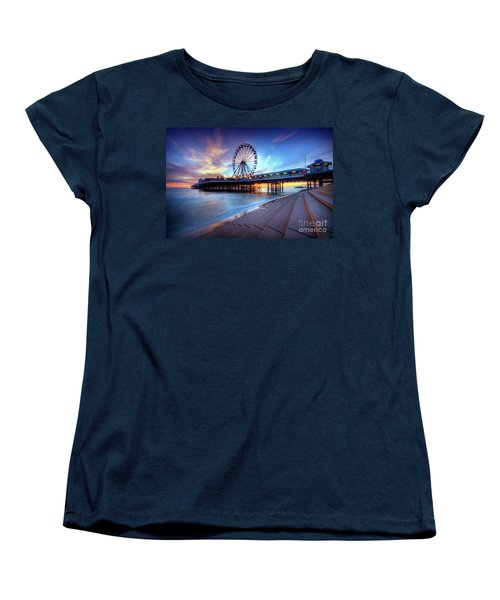 Women's T-Shirt (Standard Cut) featuring the photograph Blackpool Pier Sunset by Yhun Suarez