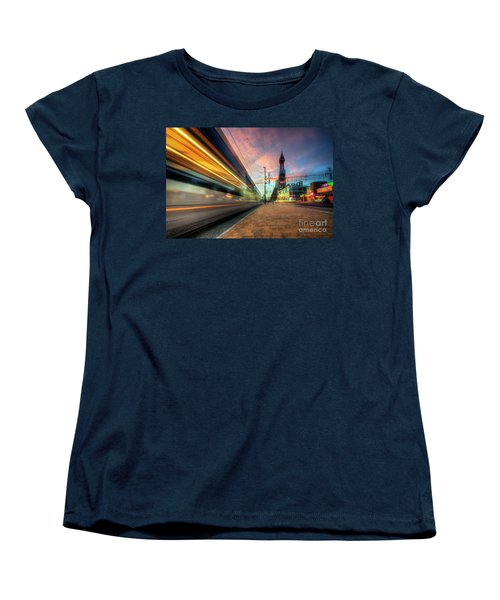Women's T-Shirt (Standard Cut) featuring the photograph Blackpool Tram Light Trail by Yhun Suarez