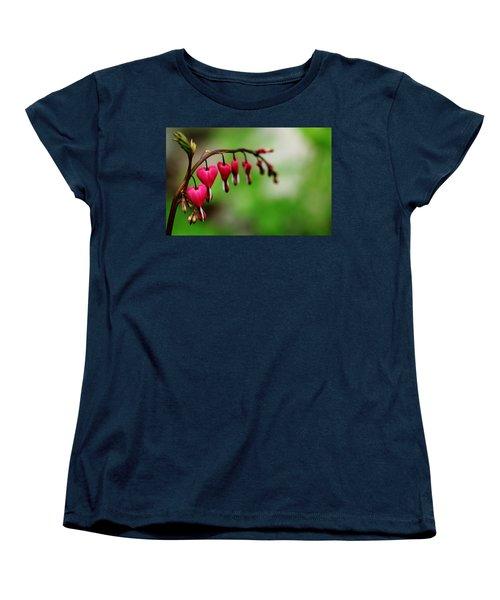 Women's T-Shirt (Standard Cut) featuring the photograph Bleeding Hearts Flower Of Romance by Debbie Oppermann