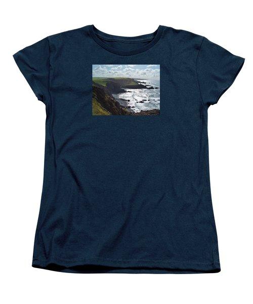 Blegberry Cliffs From Damehole Point Women's T-Shirt (Standard Cut) by Richard Brookes
