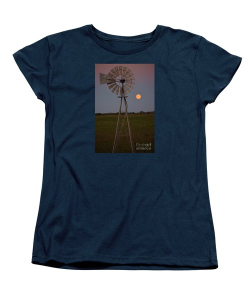 Women's T-Shirt (Standard Cut) featuring the photograph Blood Moon And Windmill by Mark McReynolds
