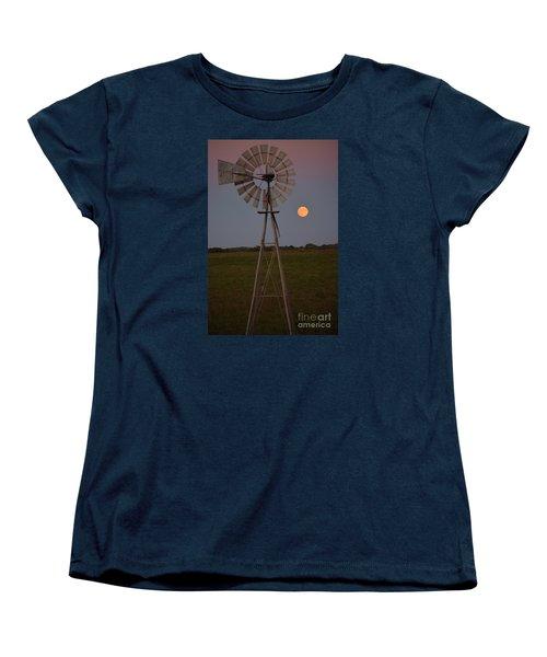 Blood Moon And Windmill Women's T-Shirt (Standard Cut) by Mark McReynolds