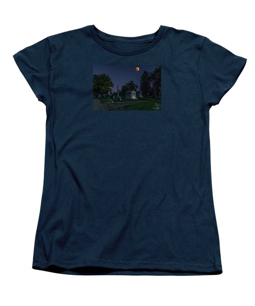 Blood Moon At Fairmount Cemetery Women's T-Shirt (Standard Cut) by Stephen  Johnson
