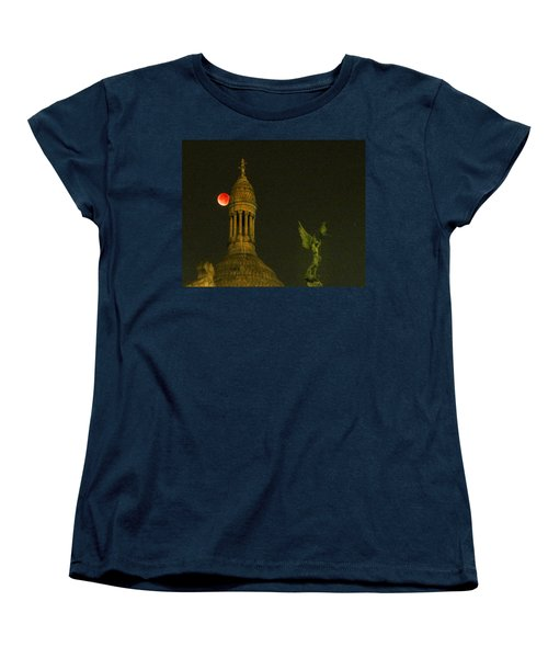 Blood Moon Eclipse At Sacre Coeur Paris  2015 Women's T-Shirt (Standard Cut) by Sally Ross