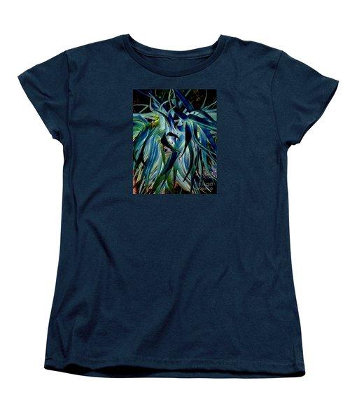 Blue Abstract Art Lorx Women's T-Shirt (Standard Cut) by Rebecca Margraf