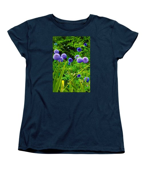 Blue Allium Flowers Women's T-Shirt (Standard Cut) by Judi Saunders