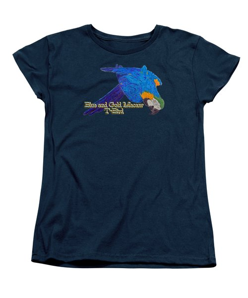 Blue And Gold Macaw Women's T-Shirt (Standard Cut) by Zazu's House Parrot Sanctuary