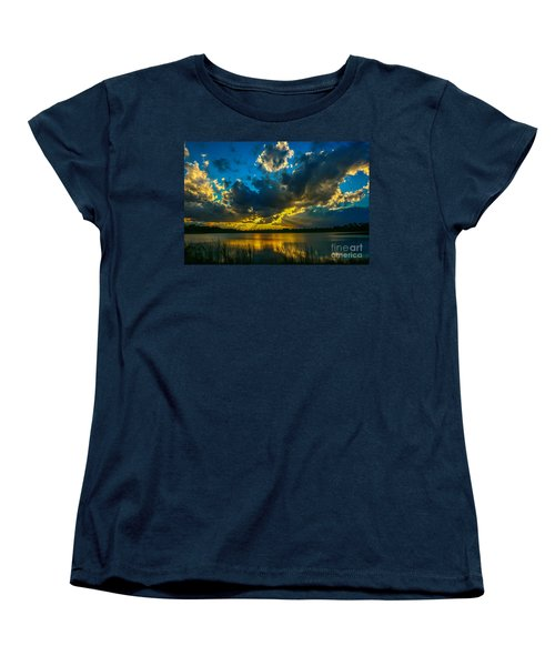 Blue And Gold Sunset With Rays Women's T-Shirt (Standard Cut) by Tom Claud