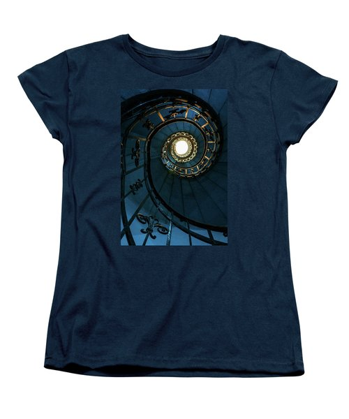 Women's T-Shirt (Standard Cut) featuring the photograph Blue And Golden Spiral Staircase by Jaroslaw Blaminsky