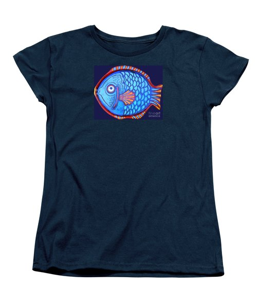 Blue And Red Fish Women's T-Shirt (Standard Cut) by Genevieve Esson