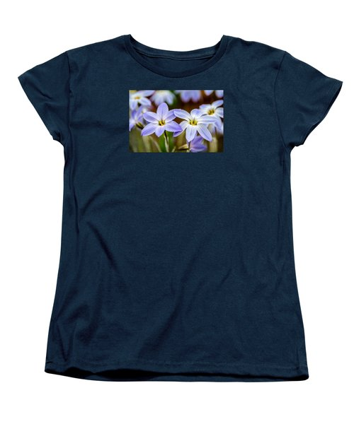 Blue And White Flowers  Women's T-Shirt (Standard Cut) by Martina Fagan