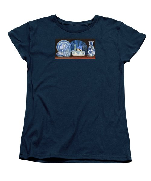 Blue And White Porcelain Ware Women's T-Shirt (Standard Cut) by Marlene Book