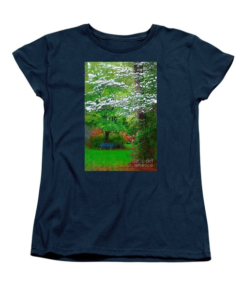 Women's T-Shirt (Standard Cut) featuring the photograph Blue Bench In Park by Donna Bentley