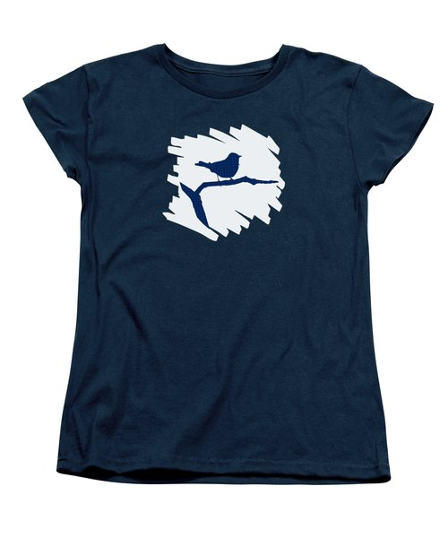 Blue Bird Silhouette Modern Bird Art Women's T-Shirt (Standard Cut) by Christina Rollo