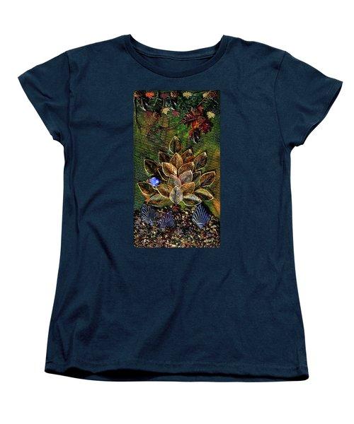 Blue Bird Singing In An Autumn Tree Women's T-Shirt (Standard Cut) by Donna Blackhall
