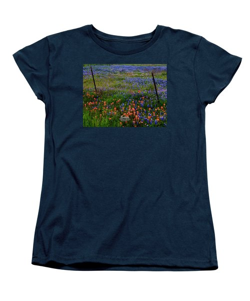 Women's T-Shirt (Standard Cut) featuring the photograph Bluebonnets #0487 by Barbara Tristan