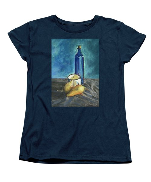 Women's T-Shirt (Standard Cut) featuring the painting Blue Bottle And Pears by Marna Edwards Flavell