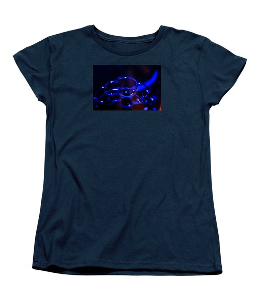 Women's T-Shirt (Standard Cut) featuring the digital art Blue Bubbles by Jana Russon