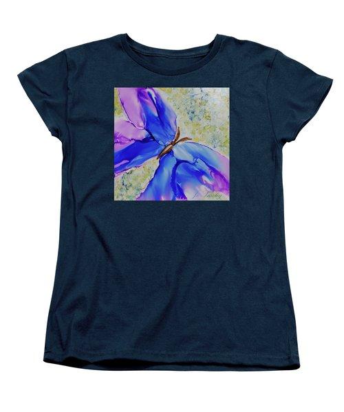 Blue Butterfly Women's T-Shirt (Standard Cut) by Joanne Smoley