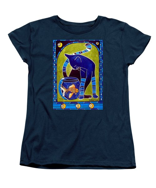 Women's T-Shirt (Standard Cut) featuring the painting Blue Cat With Goldfish by Dora Hathazi Mendes