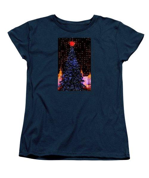 Blue Christmas Tree Women's T-Shirt (Standard Cut) by John Wartman