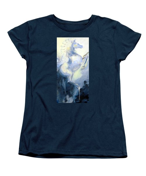 Women's T-Shirt (Standard Cut) featuring the painting Blue Circus Pony 1 by Dina Dargo