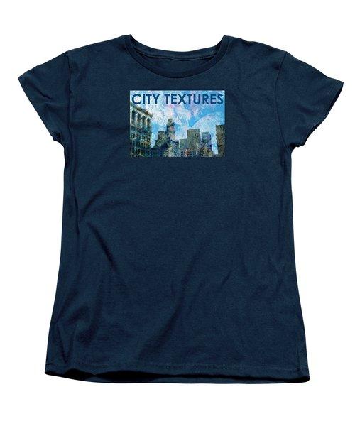 Women's T-Shirt (Standard Cut) featuring the mixed media Blue City Textures by John Fish