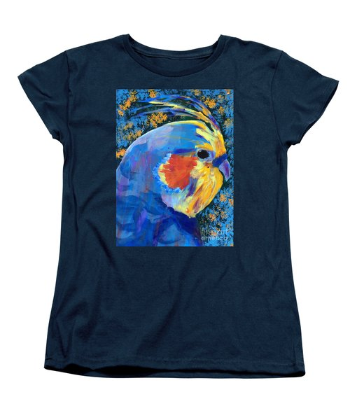 Women's T-Shirt (Standard Cut) featuring the painting Blue Cockatiel by Donald J Ryker III