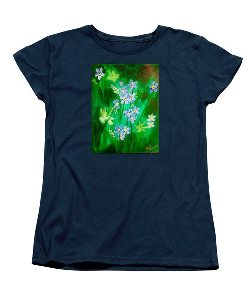 Blue Crocus Flowers Women's T-Shirt (Standard Cut) by Renee Michelle Wenker