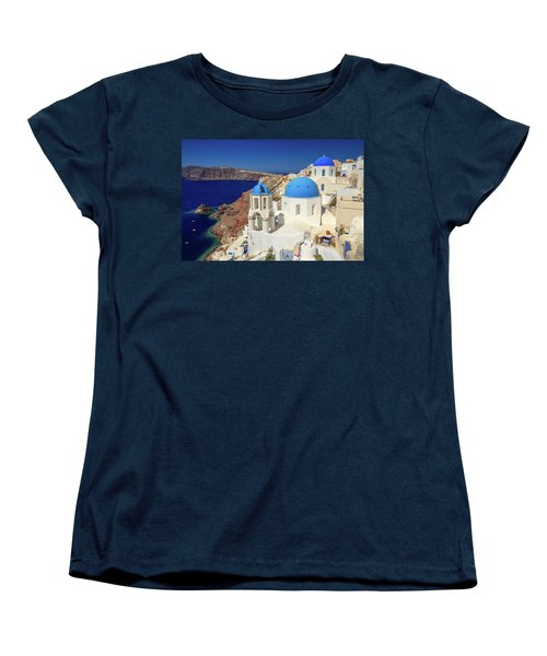 Blue Domed Churches Women's T-Shirt (Standard Cut) by Emmanuel Panagiotakis
