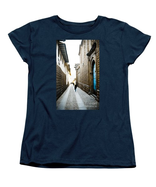 Blue Door In Cusco Women's T-Shirt (Standard Cut) by Darcy Michaelchuk