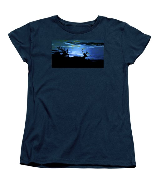Women's T-Shirt (Standard Cut) featuring the mixed media Blue Elk Dreamscape by Mike Breau