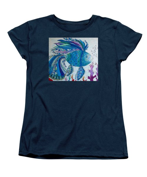 Women's T-Shirt (Standard Cut) featuring the drawing Blue Fish by Megan Walsh