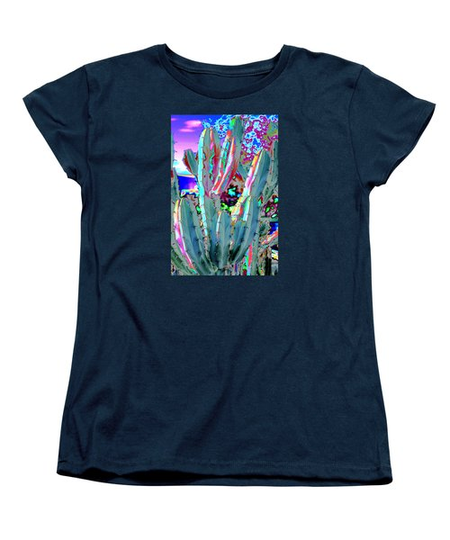 Blue Flame Cactus Abstract Women's T-Shirt (Standard Cut) by M Diane Bonaparte