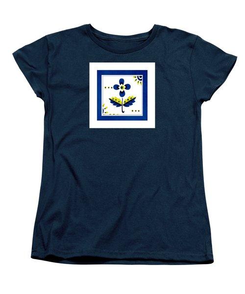 Blue Flower Illustration Women's T-Shirt (Standard Cut) by Bonnie Bruno