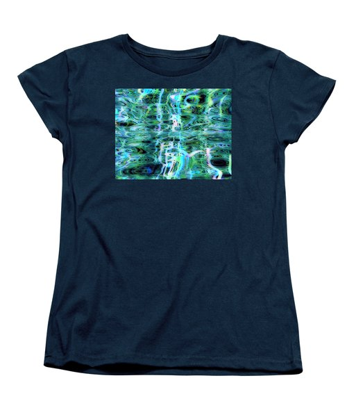 Blue Green Abstract 091015 Women's T-Shirt (Standard Cut) by Matt Lindley