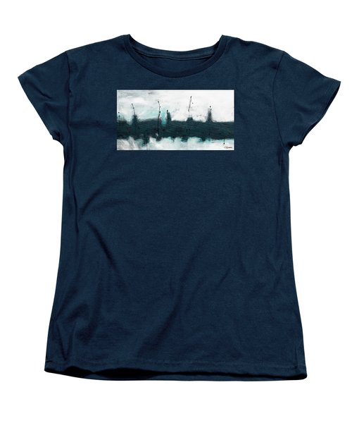 Women's T-Shirt (Standard Cut) featuring the painting Blue Harbour by Carmen Guedez
