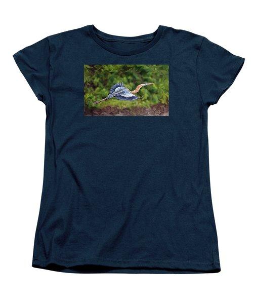 Blue Heron Flight Women's T-Shirt (Standard Cut) by Shari Jardina