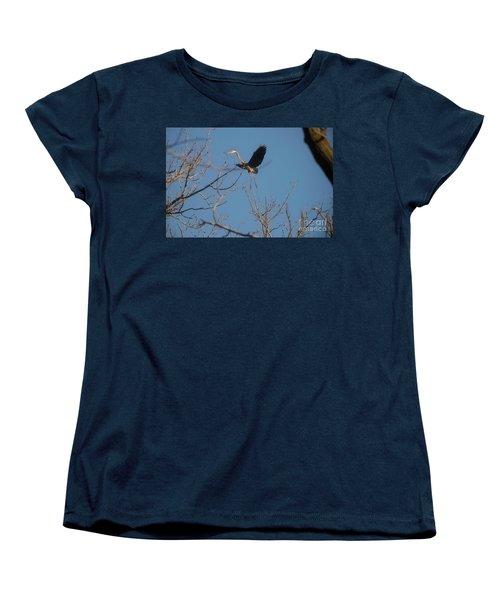 Women's T-Shirt (Standard Cut) featuring the photograph Blue Heron Landing by David Bearden